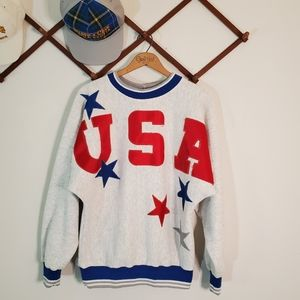 Vintage Big USA Spellout Stars Applique Crewneck